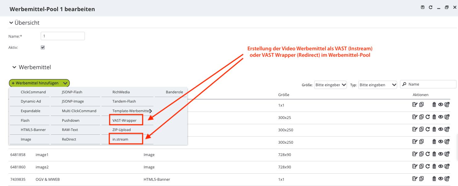 ADITION GUI - in.stream und VAST Werbemittel im Bannerpool