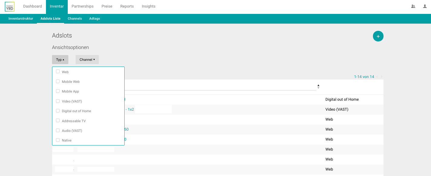 Yieldlab User Interface