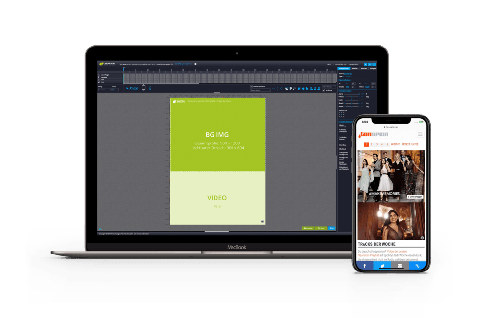 HTML Adcreator By ADITION With New Parallax Templates ADITION - Video ad templates